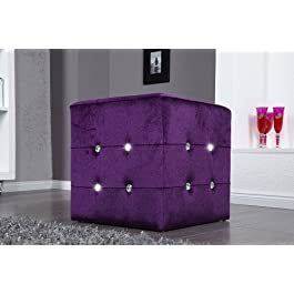 Invicta Interior Luxury - Taburete (terciopelo y brillante), color violeta