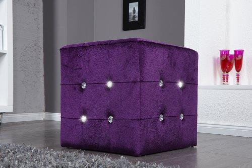 Invicta Interior Luxury - Taburete (terciopelo y brillante), color violeta