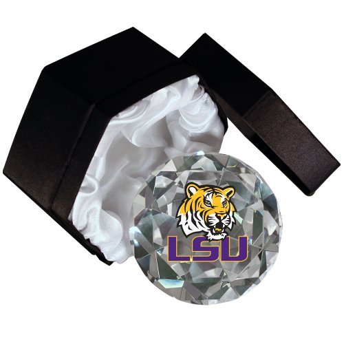 NCAA LSU Tiger mascot on a 4-Inch High Brillance Diamond Cut Crystal Paperweight