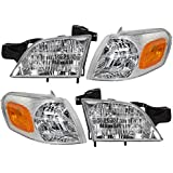 4 Piece Set of Headlights with Signal Side Marker Lamps Replacement for Chevrolet Buick Pontiac Van 10368389 10368388 15130499 15130498