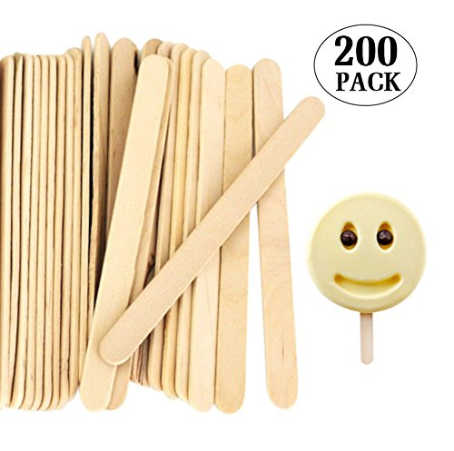 Acerich Novelty Wooden Ice Cream Sticks Treat Sticks Freezer Pop Sticks Wooden Sticks for Ice Cream Bars, 4.5 Inches Length, Set of 200 (Ice Cream Cake Food compare prices)