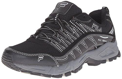 Fila Women's AT Peake Trail Running Shoe, Black/Black/Metallic Silver, 8.5 M US