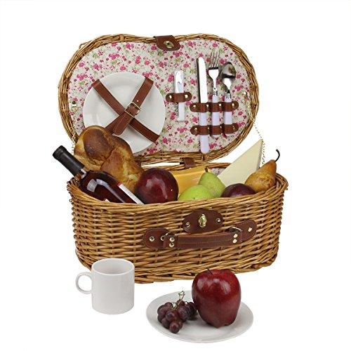 Picnic Basket Dish Set : Person hand woven honey willow floral picnic basket set