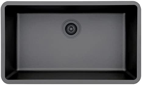 Lexicon Platinum Quartz Composite Kitchen Sink - Large Single Bowl (LP-1000 Black)