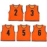 ビブス ジュニア用 ナンバー付き 5枚セット メッシュバッグ入り ゲームベスト オレンジ 2-6番