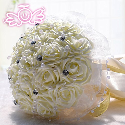 Wedding Flowers Bridal Bouquets Bridesmaid Bouquet Artificial Flowers Rose Bouquet (White)