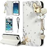 Cuir Coque Strass Case Etui Coque étui de portefeuille protection Coque Case Cas Cuir Strass Diamant Pour Iphone 5 5S Blanc A007 + Screen Protector