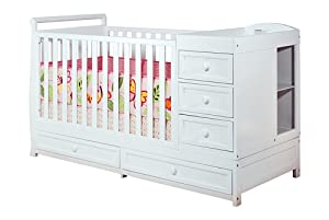 Athena Daphne Convertible Crib and Changer, White from Athena