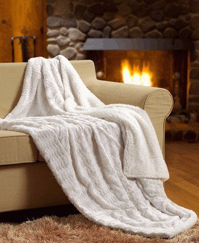 Great Deal! Tache White Ivory Super Soft Warm Polar Faux Fur with Sherpa Throw Blanket 63 x 87