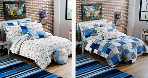 Buy Authentic Kids TWIN Reversable Quilt Vintage Airplanes Plaid