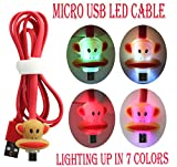 PointH Motorola Moto G 4G, Moto E, Moto E Dual SIM, Moto G Dual SIM, Moto G, Moto X, Top Quality LED Visible 7 Color Sparkling Head High Speed Data Sync Micro USB V2.0 Cable (Monkey Cartoon Face)