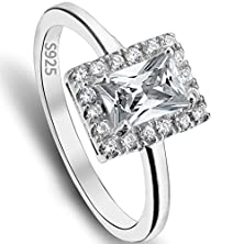 buy Ever Faith Emerald Cut 925 Sterling Silver 4 Claw Setting Cz Engagement Ring Clear- Size 9