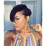 RUISENNA Short Human Hair Wigs Black Women Wigs Pixie Wigs For Women African American (Color: S002, Tamaño: S002)