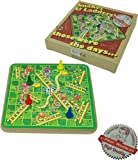 Retro wooden snakes and ladders board game