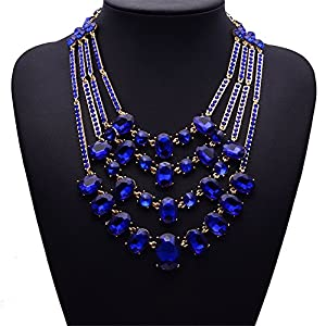 Girl Era Turquoise Jewelry Necklace 4-Strand Bib Temperament Necklace For Womnes(blue)