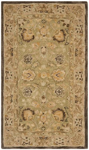 Safavieh Anatolia Collection AN512C Handmade Sage and Beige Wool Runner, 2 feet 3 inches by 8 feet (2'3