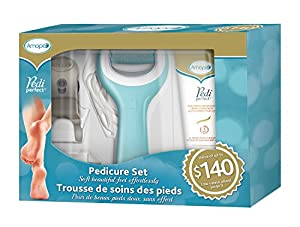 Amope Pedi perfect electronic wet and dry foot file pedicure holiday gift set value pack 1 Count