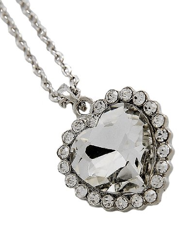 Rhodiumized Clear Glass Clear Rhinestone Valentine's Day Heart Pendant Necklace