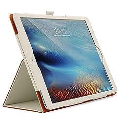 iPad Pro Case, Celicious Notecase T Apple iPad Pro PU Leather Folio Stand Case - [White with Orange Interior]