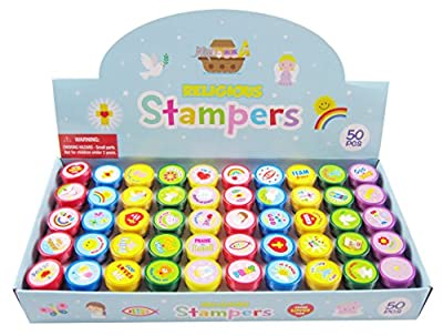 50 Pcs Religious Assorted Stampers for Kids