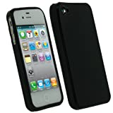 IGadgitz Black Glossy Durable Crystal Gel Skin (Thermoplastic Polyurethane TPU) Case Cover for Apple iPhone 4S 16GB 32GB 64GB + Screen Protector
