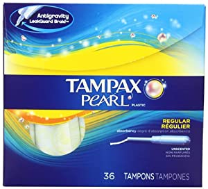 Tampax Pearl Plastic Unscented Tampons, Regular Absorbency, 36 Count