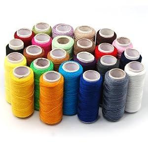 Jazooli x24 Colour 100% Cotton Reel Spools Quality Sewing Yarn Pure All Purpose Thread by Jazooli