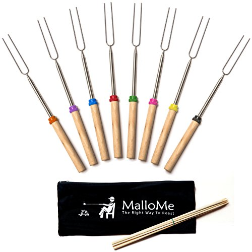 Marshmallow Roasting Sticks Set of 8 Telescoping Smores Skewers & Hot Dog Forks 32 Inch Patio Fire Pit Camping Cookware Campfire Cooking Kids Accessories - FREE Canvas Pouch, 10 Bamboo Sticks & Ebook