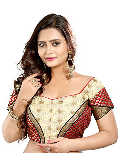 Lookslady Heavy Designer Brocade Red Embroidered Thread Work Women ethnic wear ready made stitched blouse for wedding & party sarees (only choli)