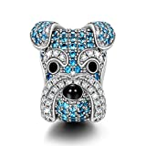 NinaQueen Schnauzer 925 Sterling Silver Puppy Dog Animal Bead Charms fit pandöra charms for pandöra bracelets, birthday anniversary gifts for teen girls valentines day gifts for her women wife mom