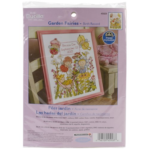 Bucilla Counted Cross Stitch Birth Record Kit, 10 by 13-Inch, 45937 Little Train