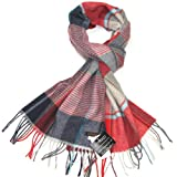 Striped & Check Wool Scarf for Men - Men's Striped Multicoloured Checked Lambswool Scarf - Lovarzi - Made in Scotland - Winter Scarves
