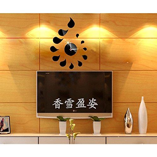 Dupin Llc (Tm)Modern Design Waterdrop Shape Fashion Wall Clock Mirror Removable Diy Acrylic 3D Home Decal Wall Sticker Bedroom Sofa (Black)