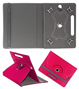 Gadget Decor (TM) PU LEATHER Rotating 360° Flip Case Cover With Stand For Videocon VA72 - Dark Pink