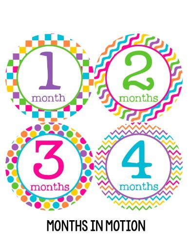 Months in Motion 199 Monthly Baby Stickers Girl Month 1-12 Milestone Age Sticker