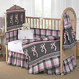 Buckmark Plaid Crib Bedskirt