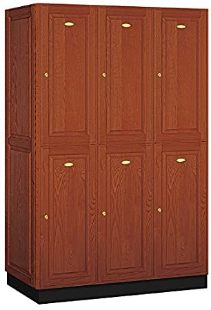 Salsbury Industries 2-Tier Solid Oak Executive Wood Locker with Three Wide Storage Units, 6-Feet High by 21-Inch Deep, Medium Oak