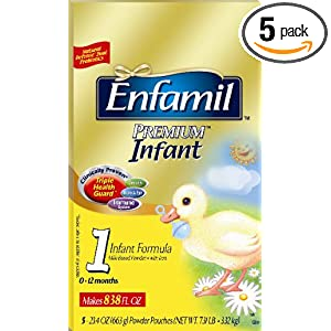Enfamil Premium Infant Formula, 23.4 Ounces (Pack of 5) = 117 Total Ounces