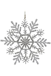 "4"" Huge Christmas Snowflake Earrings, in Silver Tone with Glitter Finish"