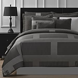 Comfy Bedding Frame Jacquard Microfiber 5-Piece Comforter Set (King, Gray)