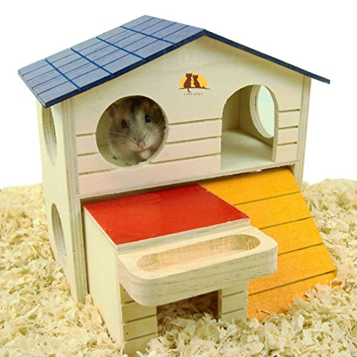 Pet Small Animal Hideout Hamster House Deluxe Two Layers Wooden Hut Play Toys Chews 51SVHW9AfmL