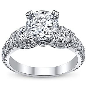 4.04 Ct Round Cut Diamond 3 Stone Engagement Ring on Platinum 2.00 ct E-F GIA Certified Center Stone from F 26 D