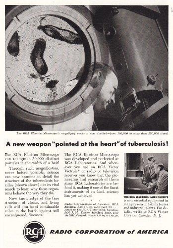1946 Rca: Electron Microscope, Tuberculosis, Rca Print Ad