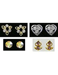 Four Pairs Of Small Stone Setting Stud Earrings - Stone And Metal
