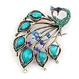 Klaritta Vintage Style Amazing Turquoise And Blue Rhinestones Peacock Brooch Pin BR66