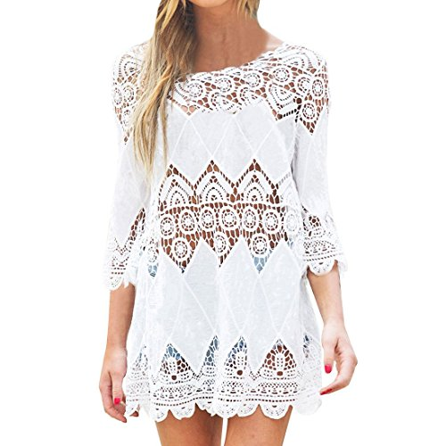Da Donna Moda Pizzo Costumi Da Bagno Uncinetto Cavo Su Tunica Coprire Spiaggia Vestito vestito spiaggia Beachwear