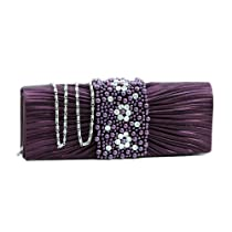 Dasein Pleated Evening Bag Clutch w/ Rhinestone & Pearl Accented Flap -Purple