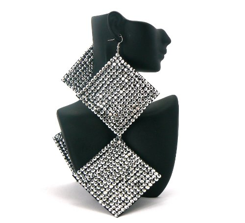 Silver Square Poparazzi Iced Out Light Weight Basketball Wives Earrings Lady Gaga Paparazzi