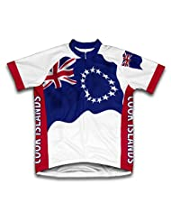 Cook Islands Flag Short Sleeve Cycling Jersey for Women