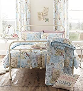 "SONG BIRD BLUE BEIGE 66"" x 72"" LINED RING TOP CURTAINS #TSOPNIV *TUR*"